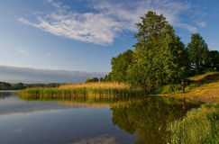 Lake sunrise on Warima and Mazury. Royalty Free Stock Photos