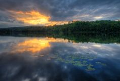 Lake Sunset. Sunset at Hopewell Lake, French Creek State Park, Pennsylvania (USA stock photo