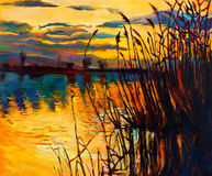 Lake on sunset. Original oil painting showing beautiful lake,sunset landscape.Fern(rush),sky and clouds. Modern Impressionism Stock Photo