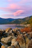 Lake at sunset. High in the mountains Royalty Free Stock Photo