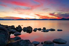 Lake at sunset stock image
