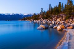 Lake at sunset. In winter Royalty Free Stock Images