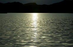 Lake at Sunset. Arizona's Saguaro Lake as the sun goes down stock images