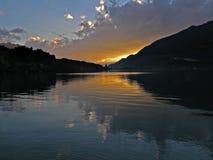 Lake sunset. In Interlaken stock photo