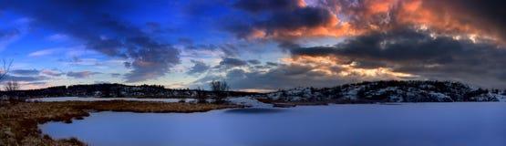 Lake and sunset Stock Photos