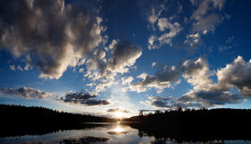 Lake Sunset. A dramatic sunset on a beautiful lake, Buskerud, Norway Royalty Free Stock Photos