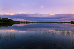 Lake on the sunset background Royalty Free Stock Photo