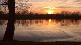 Lake at sunset stock footage