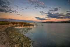Lake after sunset. Calmness mood over the lake after sunset Royalty Free Stock Photography