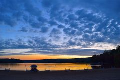 Lake, Sunset, Clouds, Sky, Water Royalty Free Stock Photos