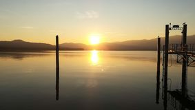 Lovely Italy Lagomaggiore`s Lake mystic sunset royalty free stock photography
