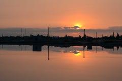 Lake at sunset in Hon Khoi, Khanh Hoa, Vietnam Royalty Free Stock Photos