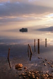 The lake at sunset. Sunset hours when the soft light is shining on the Lugu Lake is really a comfortable eye-feast for visitors Royalty Free Stock Image
