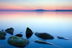 Lake at sunset. Long exposure shot Royalty Free Stock Photo