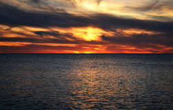 Lake sunset. Sunset over lake Erie let the color pull you in Stock Photo