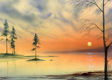 Lake sunset painting Stock Images
