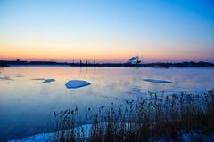 The lake sunset Stock Photos
