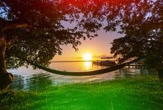 Lake on sunset Stock Image