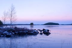 Lake in sunset Royalty Free Stock Images