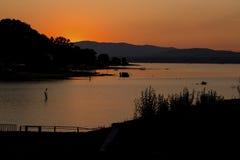 Lake sunset. Summer sunset on lake Modrac Stock Photos