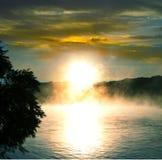 Lake on sunset Royalty Free Stock Image