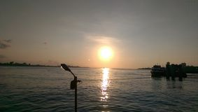 Lake sunset. Taiwan Tamsui pier Stock Photos