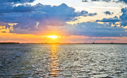Lake sunset view royalty free stock images