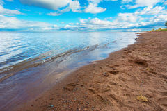 Lake Superior. Sandy Beach Overlooking Beautiful Lake Superior in the Afteroon Royalty Free Stock Photos
