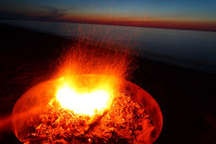Lake Superior Beach Campfire Stock Photos