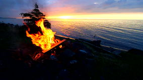 Lake Superior Beach Campfire stock video
