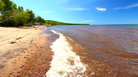 Lake Superior Beach Shoreline stock footage