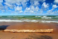 Lake Superior Beach Waves. Beach landscape of waves crashing along the shores of Lake Superior in Michigan Stock Photo