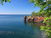Lake Superior coastline with arch Royalty Free Stock Images