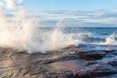 Free Lake Superior Crashing Wave In The Upper Peninsula Of Michigan Royalty Free Stock Photo - 96698435