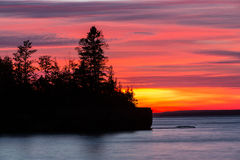 Lake Superior Fiery Sunset Silhouette Stock Image