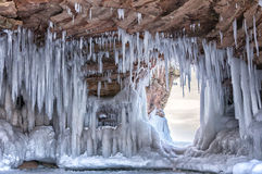 Lake Superior Ice Caves. Apostle Island Ice Caves on the shores of Lake Superior.  Winter travel in Wisconsin Stock Photo