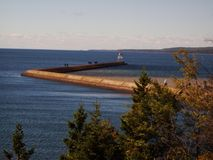 Lake Superior Lighthouse Walkway royalty free stock photography