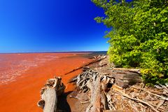 Lake Superior Mud from Rainstorm. The muddy Big Iron River empties muddy water into Lake Superior after a heavy rainstorm in northwoods Michigan royalty free stock photo