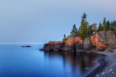 Lake Superior Outcropping. A rocky outcropping along the shore of Lake Superior Stock Photo