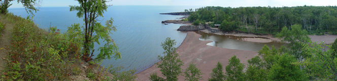 Lake Superior panorama. Agate Beach at the mouth of Gooseberry River - North Shore, Superior Lake, Minnesota royalty free stock images