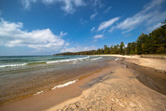 Lake Superior Sandy Beach Stock Photography