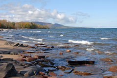 Lake superior shore. Looking towards porcupine wilderness state park Royalty Free Stock Photo