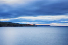 Lake Superior Shoreline. Looking north from Grand Marais, Minnesota along Lake Superior Stock Photography