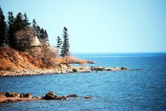Lake Superior Shoreline. Shoreline of Lake Superior on a calm clear day Royalty Free Stock Image