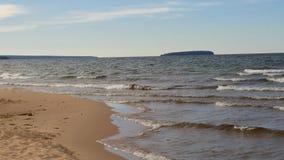 Lake Superior shoreline with AuTrain island on horizon Royalty Free Stock Photos