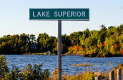 Lake Superior Sign Post Royalty Free Stock Images