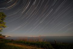 Lake superior star trail Royalty Free Stock Photography