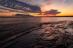 Lake Superior Sunrise at the Porcupine Mountains Royalty Free Stock Photography