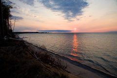 Lake Superior Sunset. Sunset over the Michigan's Pictured Rocks and Lake Superior Stock Images