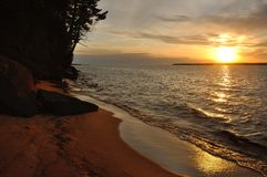Lake Superior Sunset. Over Sand Island of the Apostle Islands in Wisconsin Stock Images